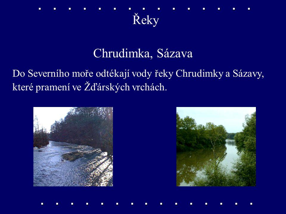 Řeky Chrudimka, Sázava.