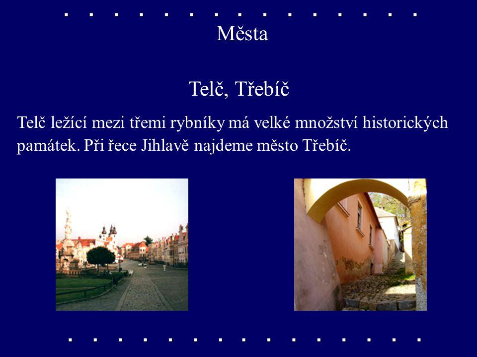 Města Telč, Třebíč. Telč ležící mezi třemi rybníky má velké množství historických.