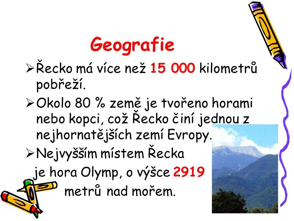 Geografie Řecko má více než 15 000 kilometrů pobřeží.