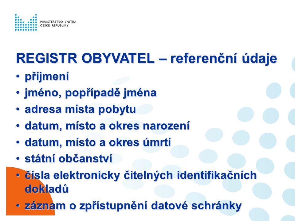 REGISTR OBYVATEL – referenční údaje