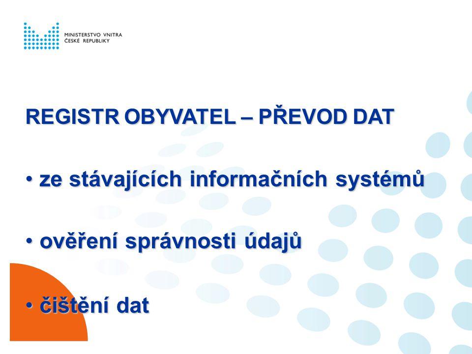 ze stávajících informačních systémů ověření správnosti údajů