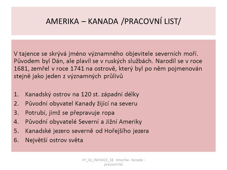 AMERIKA – KANADA /PRACOVNÍ LIST/