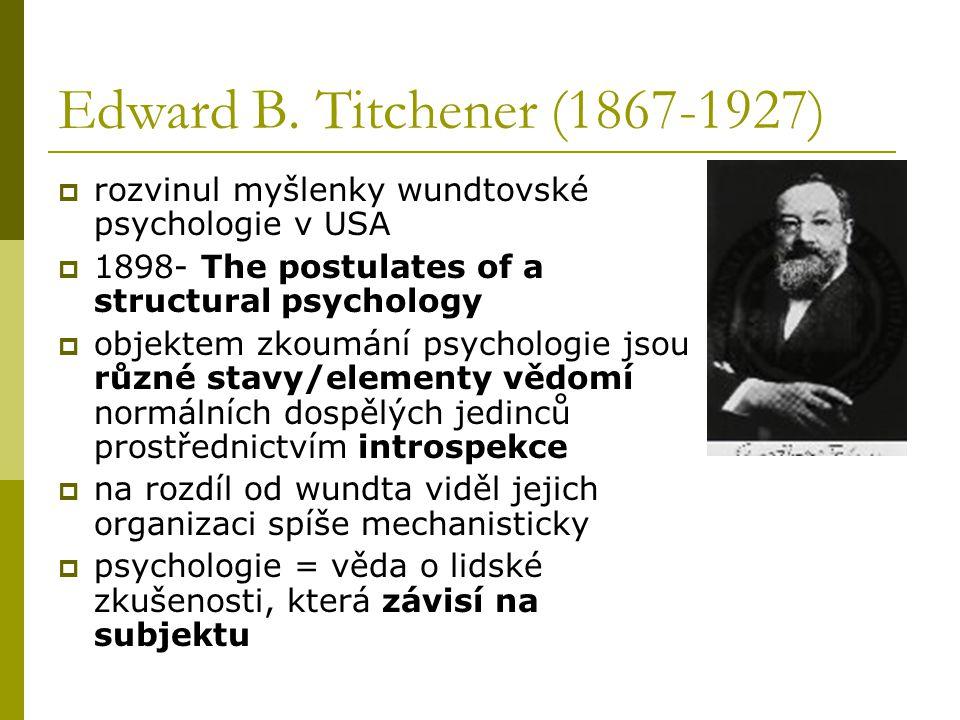 Edward B. Titchener (1867-1927) rozvinul myšlenky wundtovské psychologie v USA. 1898- The postulates of a structural psychology.