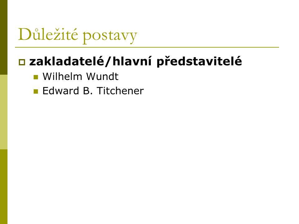 Důležité postavy zakladatelé/hlavní představitelé Wilhelm Wundt