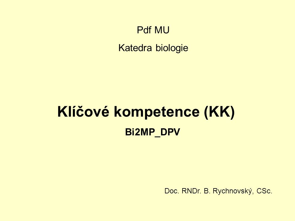 Klíčové kompetence (KK)