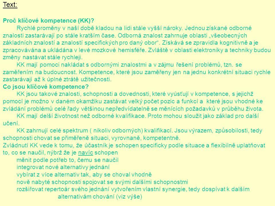 Text: Proč klíčové kompetence (KK)