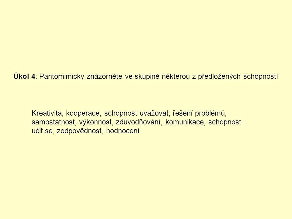 Úkol 4: Pantomimicky znázorněte ve skupině některou z předložených schopností