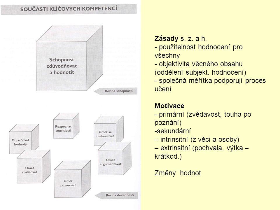 Zásady s. z. a h. použitelnost hodnocení pro všechny. objektivita věcného obsahu (oddělení subjekt. hodnocení)