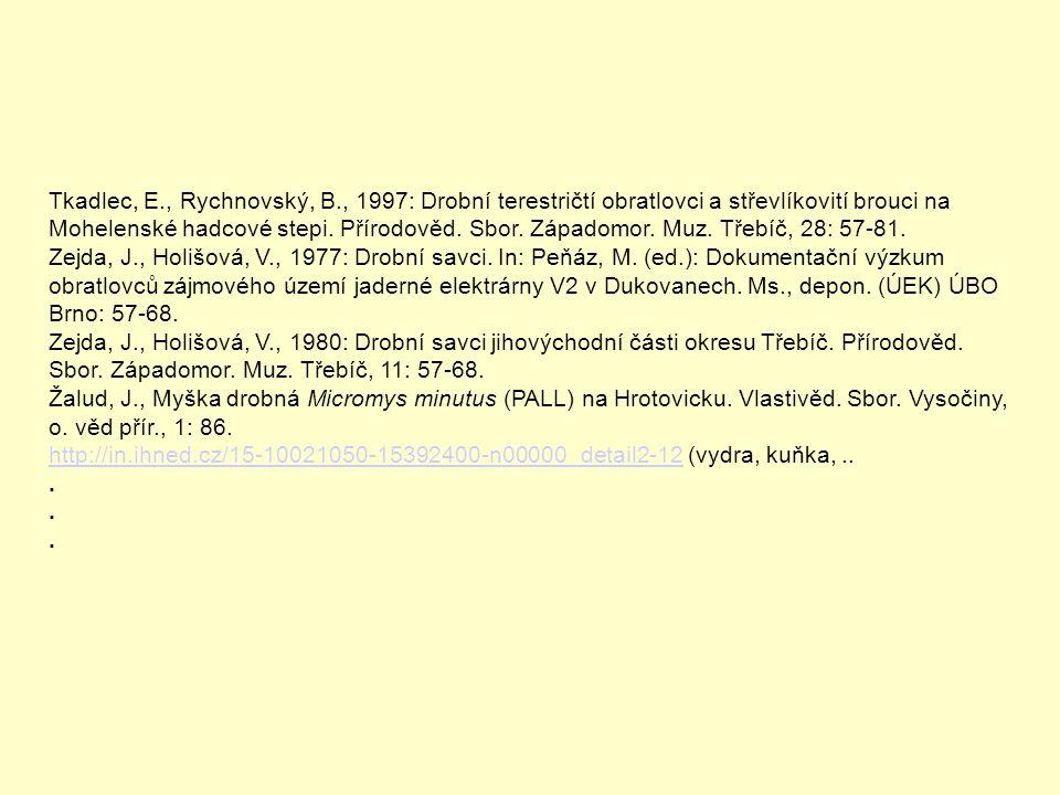 Tkadlec, E., Rychnovský, B., 1997: Drobní terestričtí obratlovci a střevlíkovití brouci na Mohelenské hadcové stepi. Přírodověd. Sbor. Západomor. Muz. Třebíč, 28: 57-81.