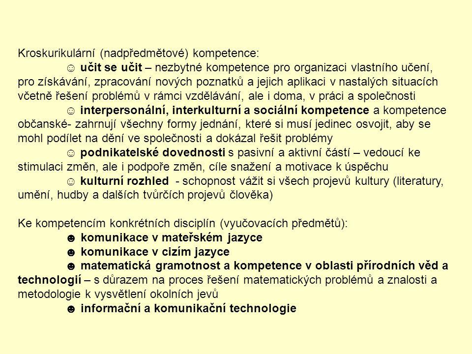 Kroskurikulární (nadpředmětové) kompetence: