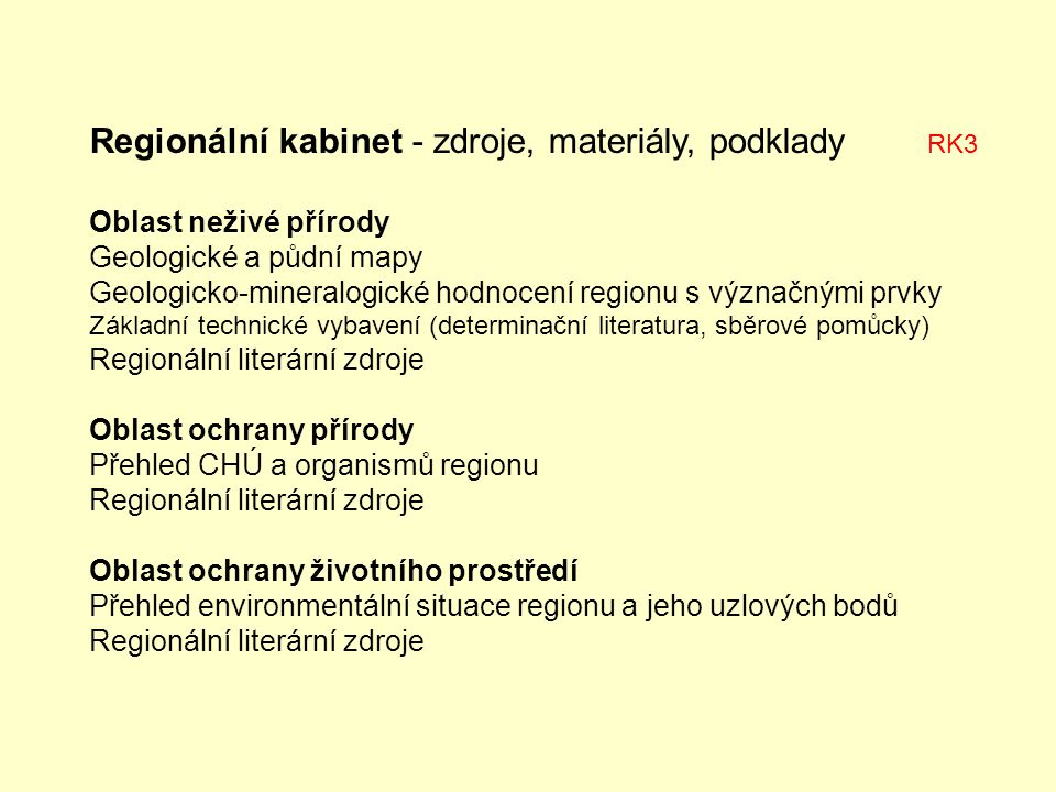 Regionální kabinet - zdroje, materiály, podklady RK3