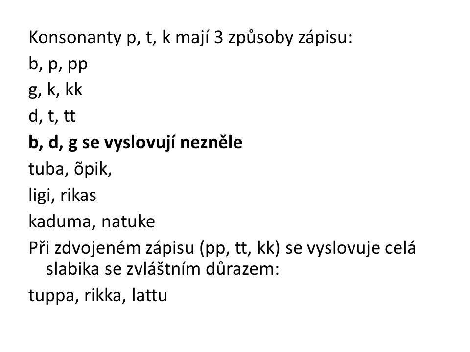 Konsonanty p, t, k mají 3 způsoby zápisu: