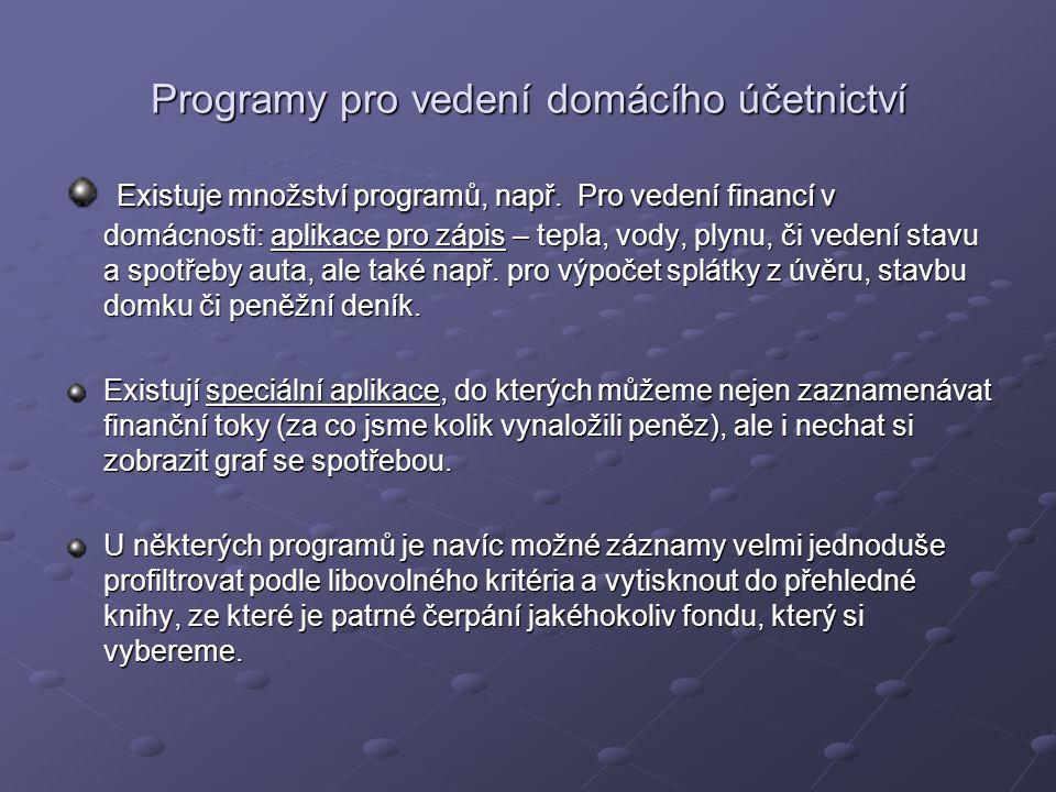 Programy pro vedení domácího účetnictví