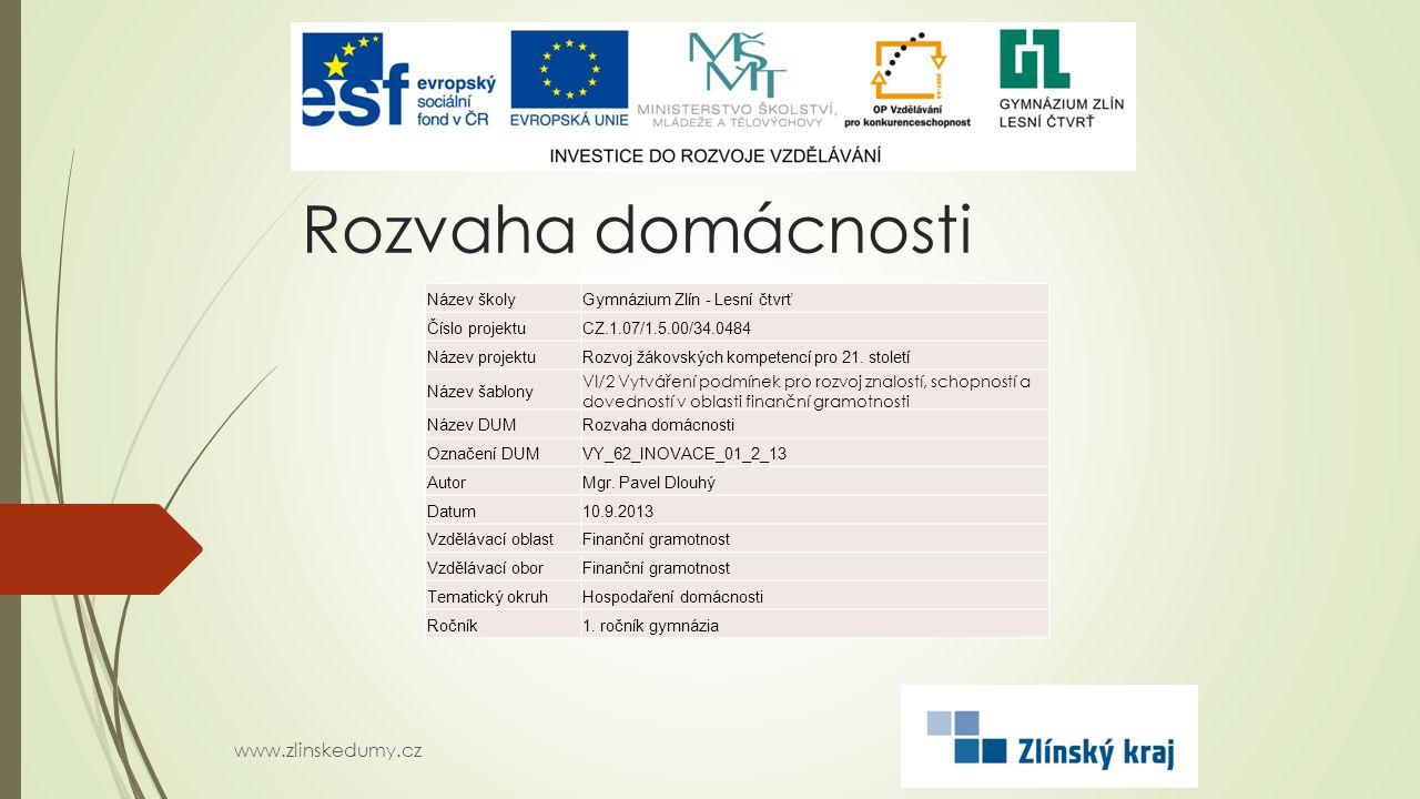 Rozvaha domácnosti www.zlinskedumy.cz Název školy