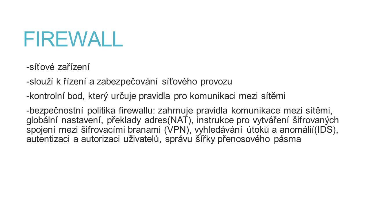 FIREWALL -síťové zařízení