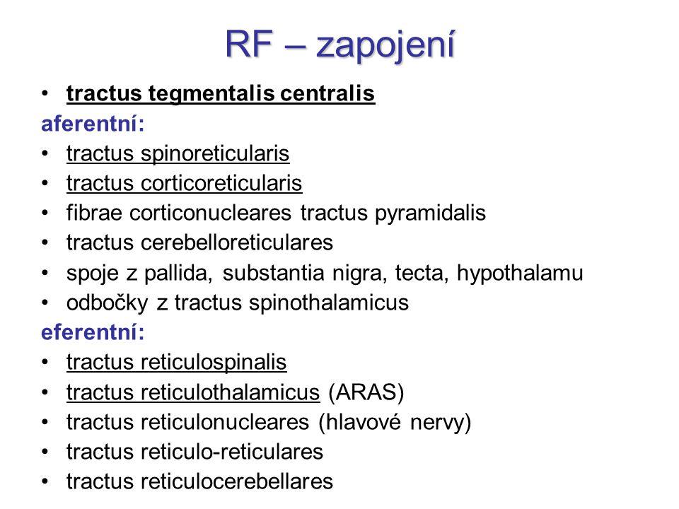 RF – zapojení tractus tegmentalis centralis aferentní: