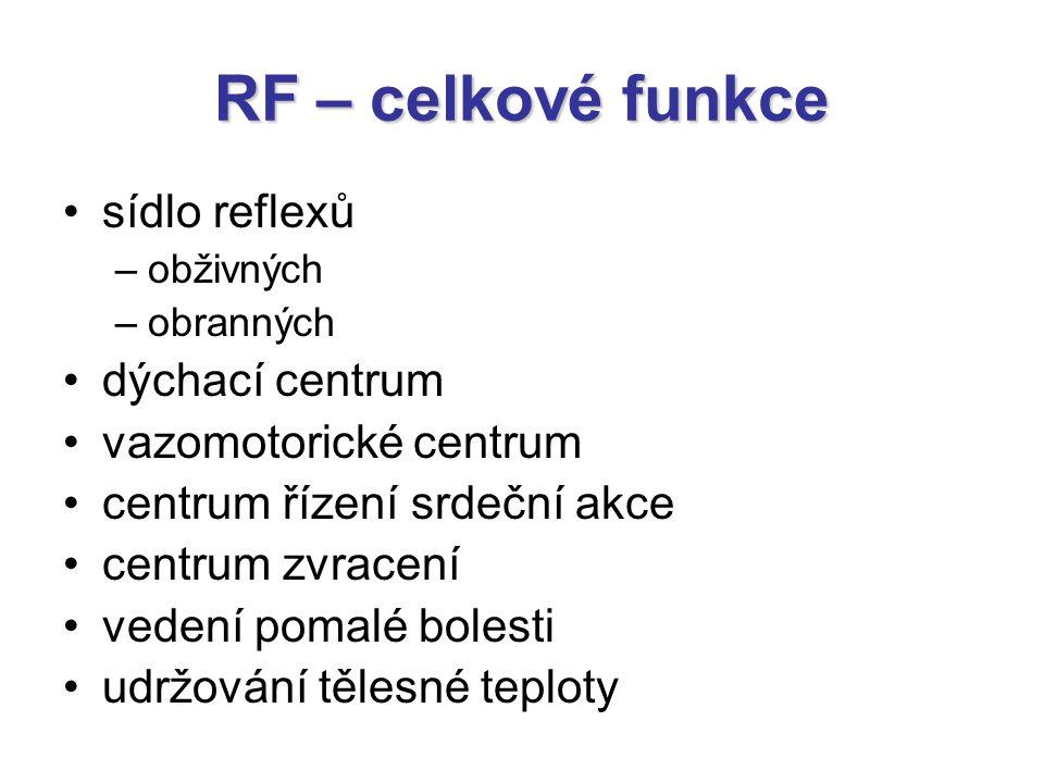 RF – celkové funkce sídlo reflexů dýchací centrum