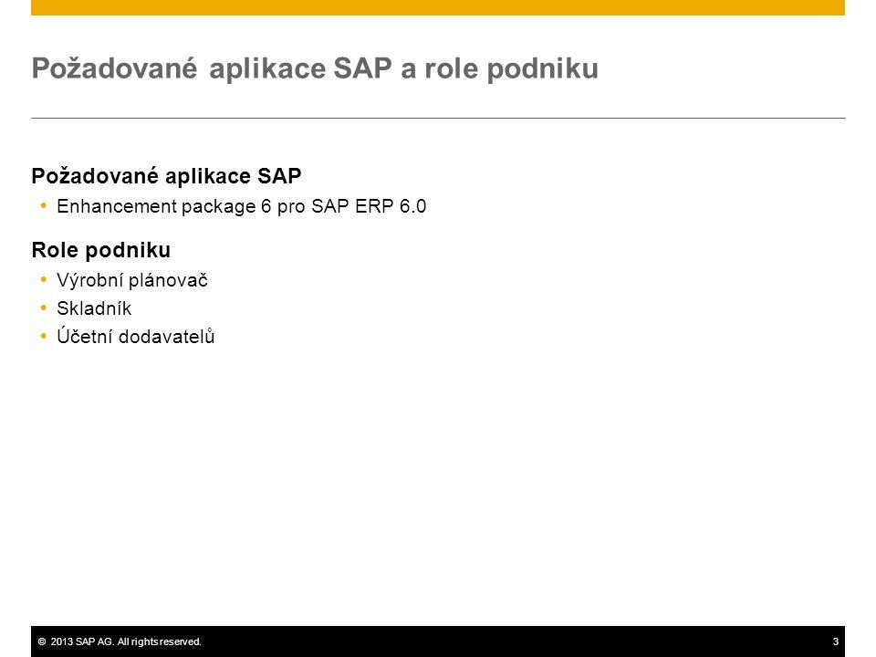 Požadované aplikace SAP a role podniku