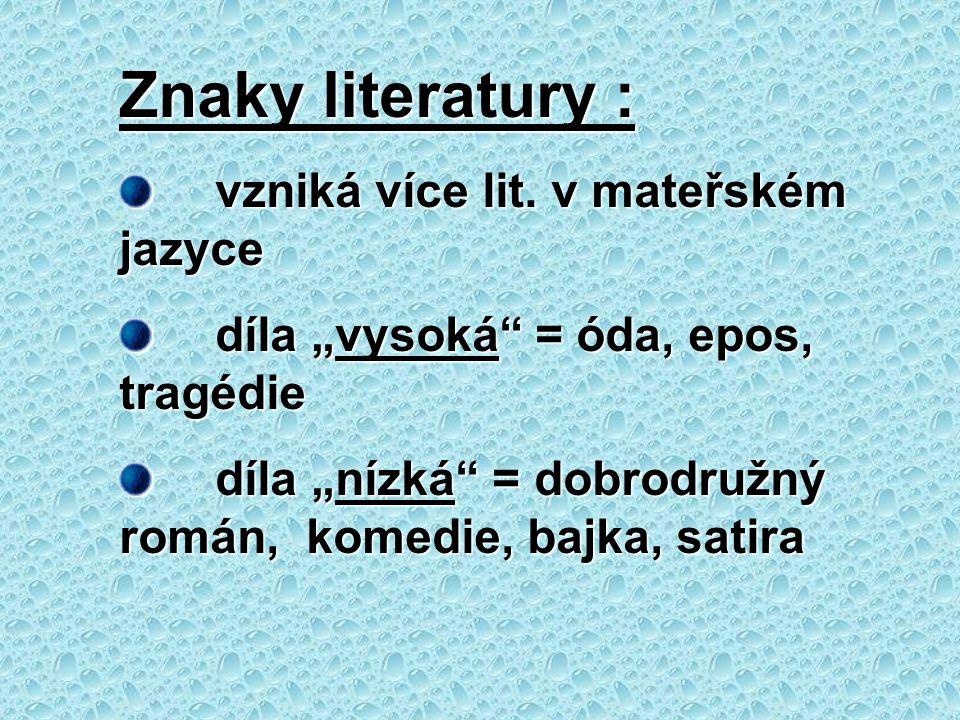 Znaky literatury : vzniká více lit. v mateřském jazyce