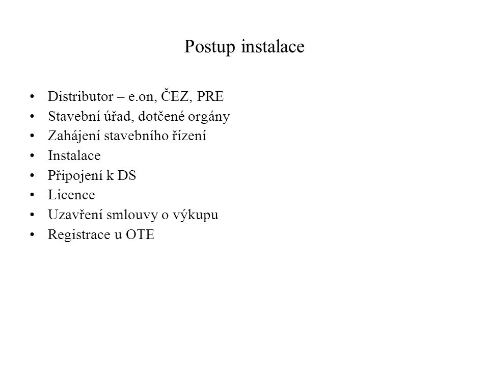 Postup instalace Distributor – e.on, ČEZ, PRE