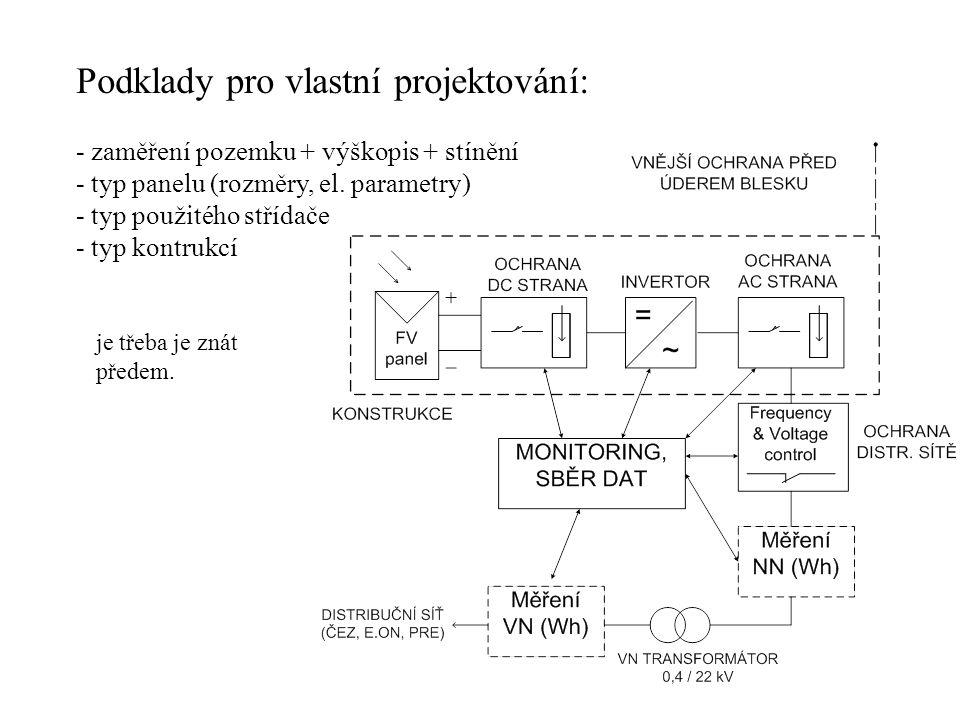Podklady pro vlastní projektování: