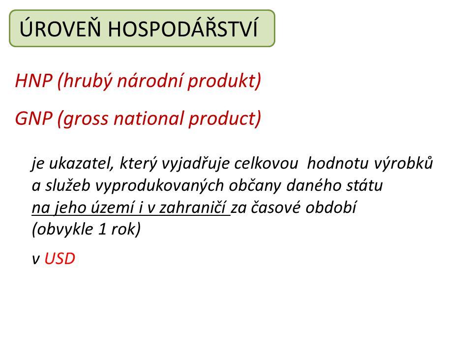 ÚROVEŇ HOSPODÁŘSTVÍ HNP (hrubý národní produkt)