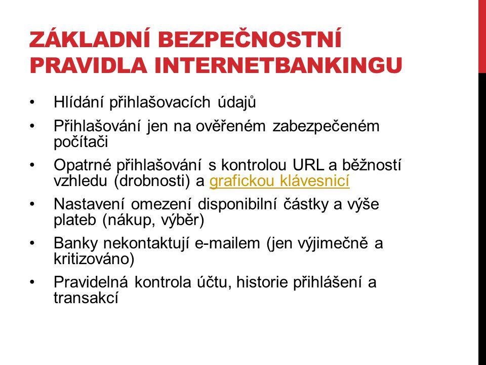 Základní bezpečnostní pravidla internetbankingu