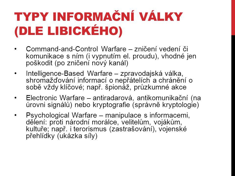 Typy informační války (dle Libického)