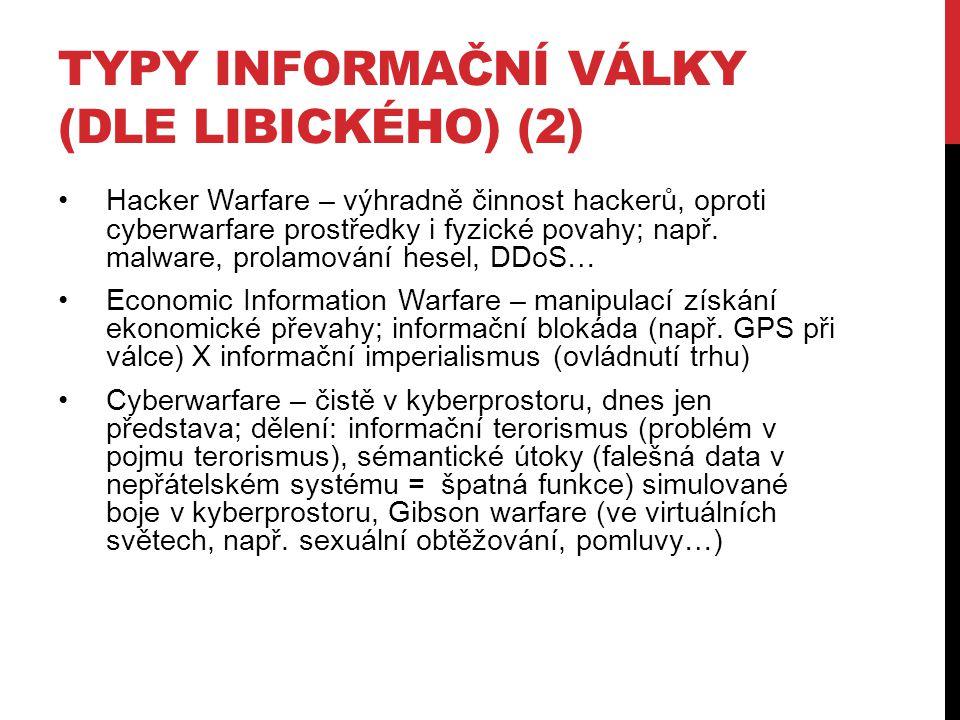 Typy informační války (dle Libického) (2)