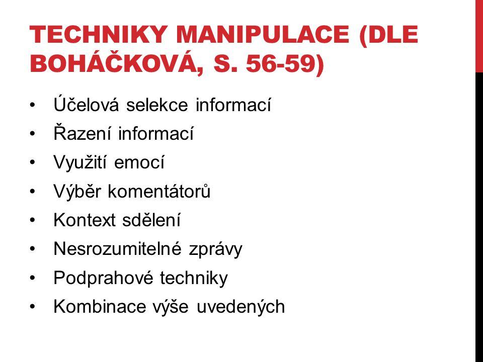 Techniky manipulace (dle Boháčková, s. 56-59)