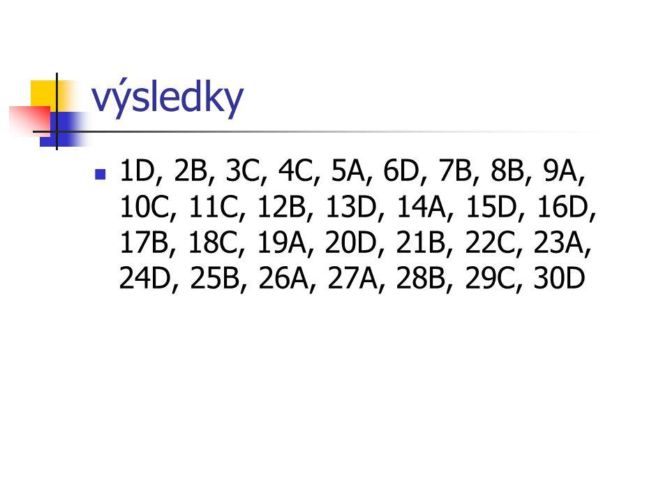 výsledky 1D, 2B, 3C, 4C, 5A, 6D, 7B, 8B, 9A, 10C, 11C, 12B, 13D, 14A, 15D, 16D, 17B, 18C, 19A, 20D, 21B, 22C, 23A, 24D, 25B, 26A, 27A, 28B, 29C, 30D.