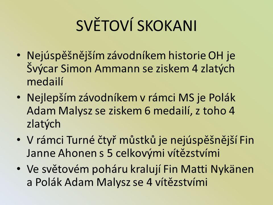 SVĚTOVÍ SKOKANI Nejúspěšnějším závodníkem historie OH je Švýcar Simon Ammann se ziskem 4 zlatých medailí.