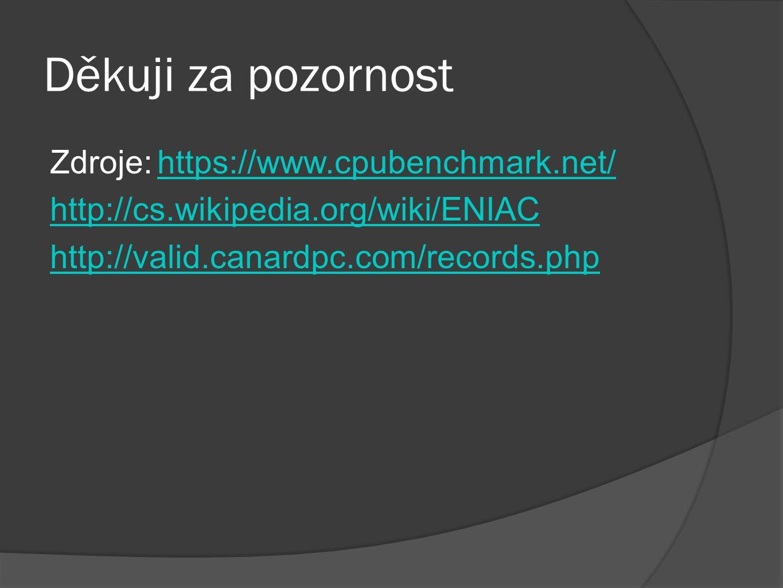 Děkuji za pozornost Zdroje: https://www.cpubenchmark.net/ http://cs.wikipedia.org/wiki/ENIAC http://valid.canardpc.com/records.php