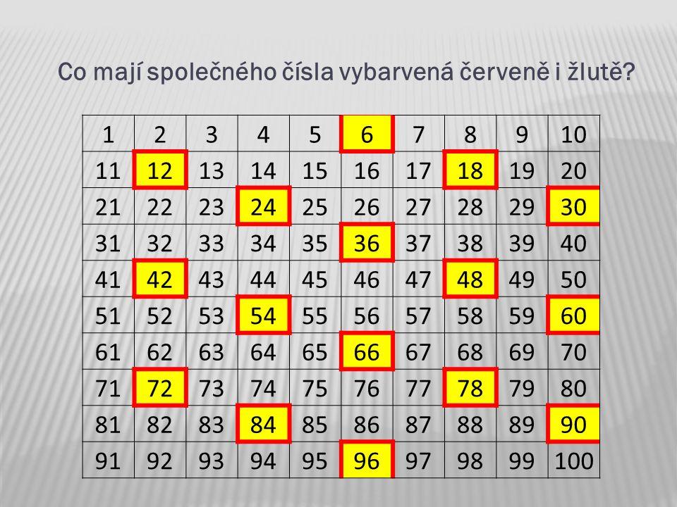 Co mají společného čísla vybarvená červeně i žlutě
