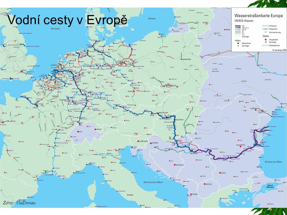 Vodní cesty v Evropě Zdroj: ViaDonau