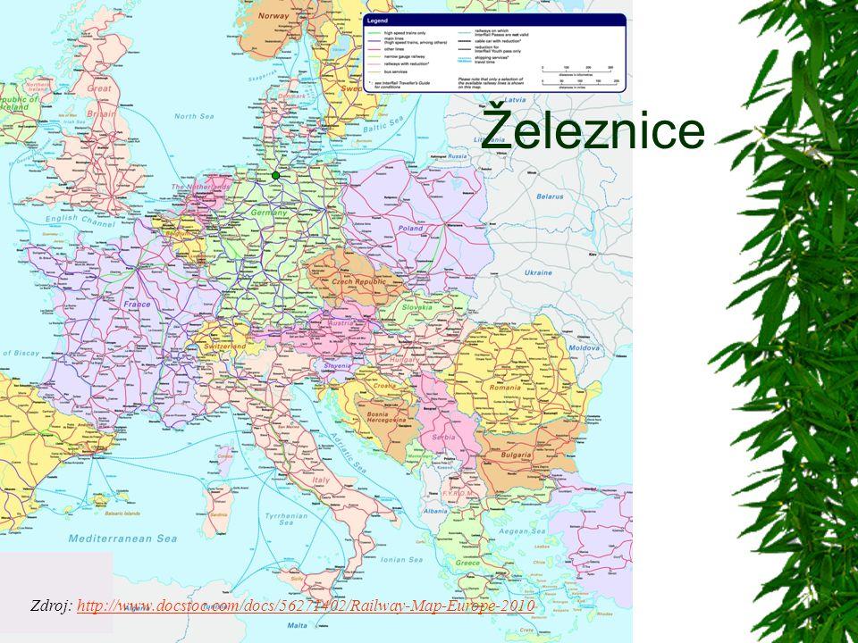 Železnice Zdroj: http://www.docstoc.com/docs/56271402/Railway-Map-Europe-2010