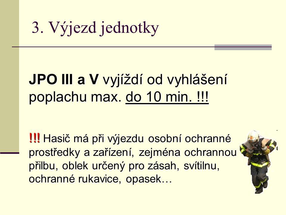 3. Výjezd jednotky JPO III a V vyjíždí od vyhlášení poplachu max. do 10 min. !!!