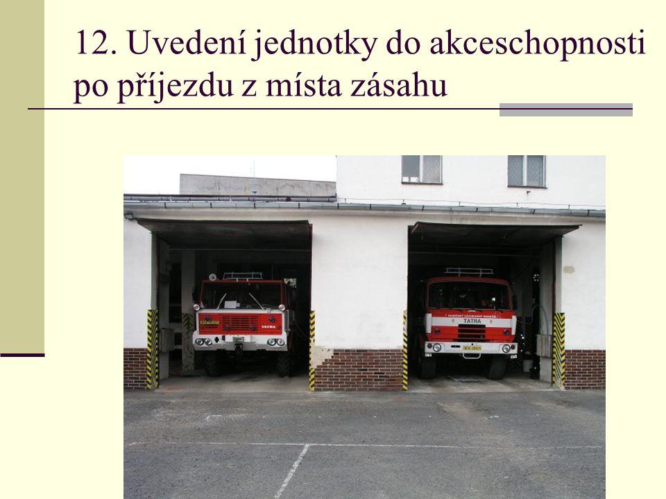 12. Uvedení jednotky do akceschopnosti po příjezdu z místa zásahu