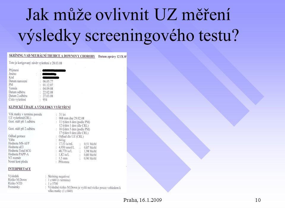 Jak může ovlivnit UZ měření výsledky screeningového testu