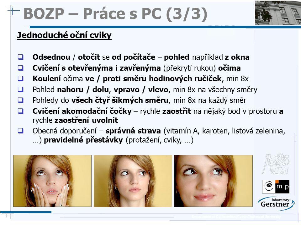BOZP – Práce s PC (3/3) Jednoduché oční cviky