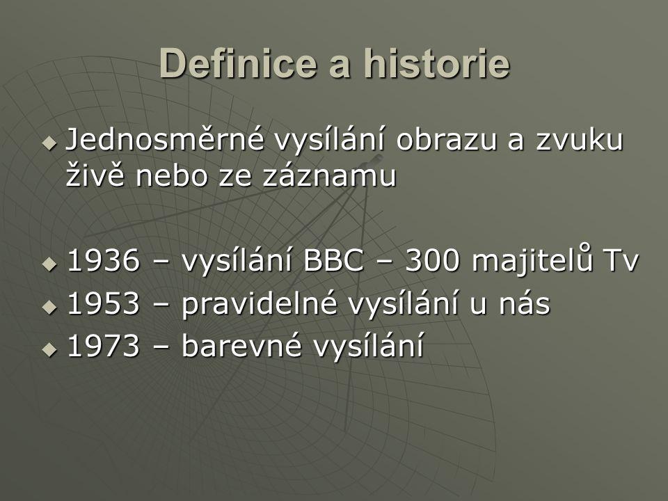 Definice a historie Jednosměrné vysílání obrazu a zvuku živě nebo ze záznamu. 1936 – vysílání BBC – 300 majitelů Tv.