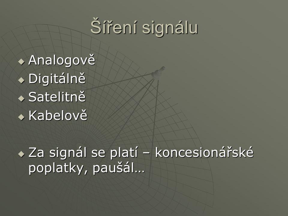 Šíření signálu Analogově Digitálně Satelitně Kabelově