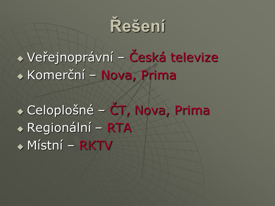Řešení Veřejnoprávní – Česká televize Komerční – Nova, Prima