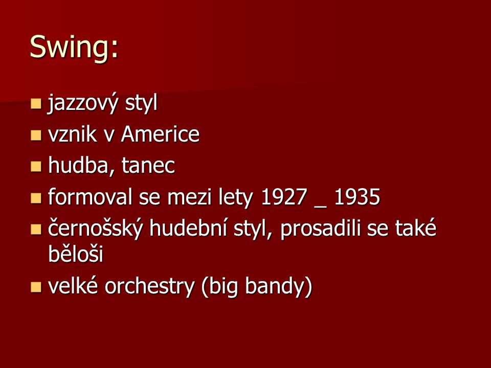 Swing: jazzový styl vznik v Americe hudba, tanec
