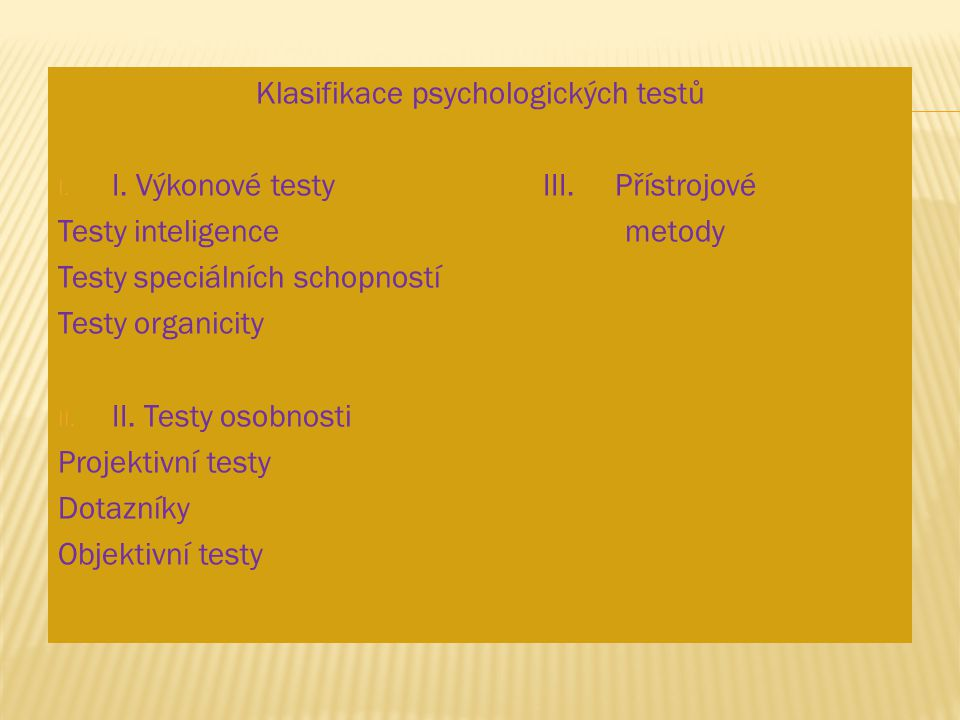 Klasifikace psychologických testů
