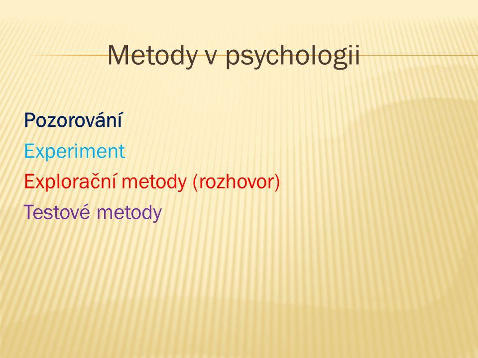 Metody v psychologii Pozorování Experiment