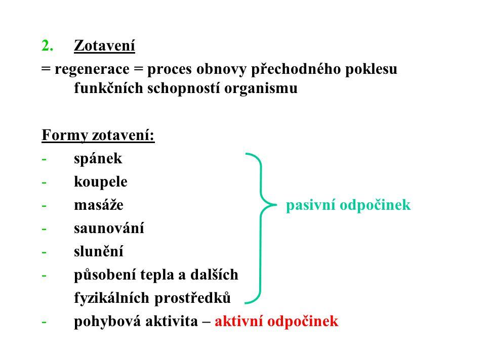 Zotavení = regenerace = proces obnovy přechodného poklesu funkčních schopností organismu. Formy zotavení: