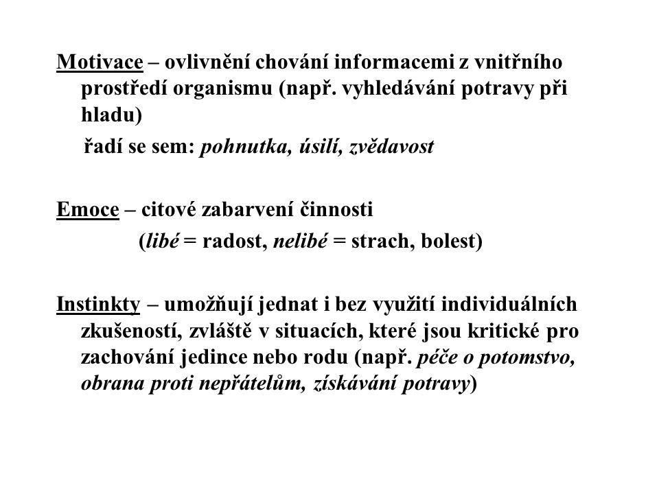 Motivace – ovlivnění chování informacemi z vnitřního prostředí organismu (např. vyhledávání potravy při hladu)