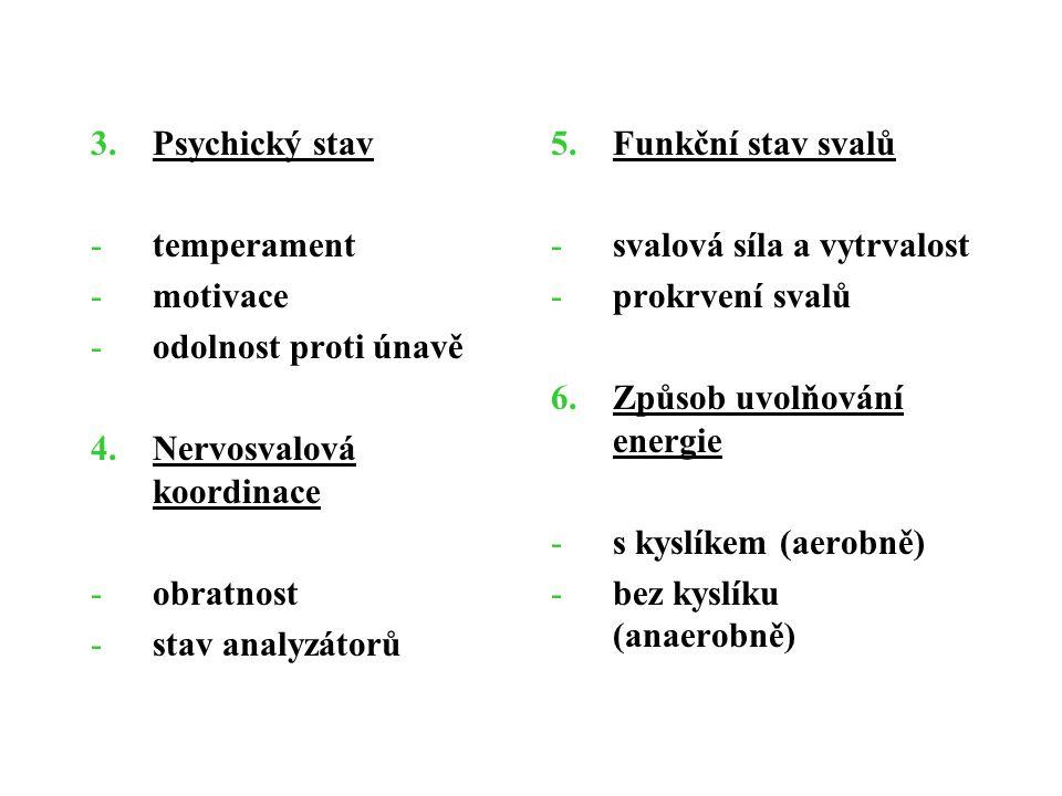 Psychický stav temperament. motivace. odolnost proti únavě. Nervosvalová koordinace. obratnost.