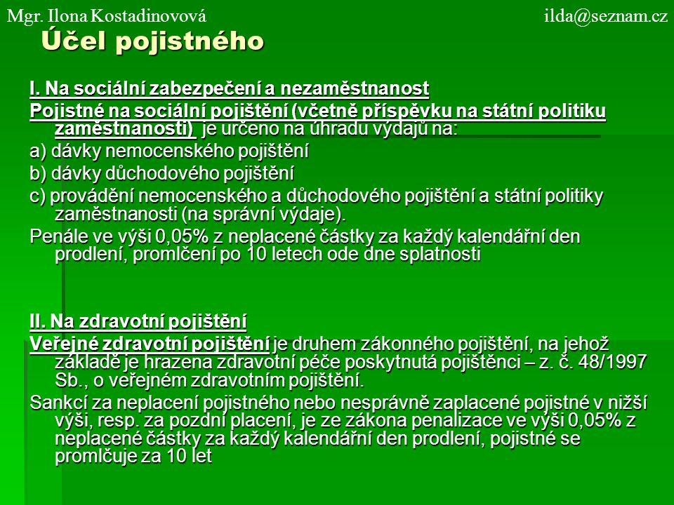 Účel pojistného Mgr. Ilona Kostadinovová ilda@seznam.cz